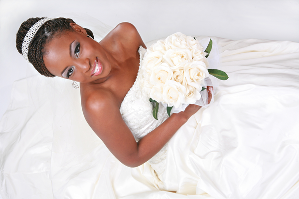 Bride smiling on her wedding day